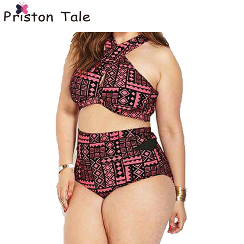 18aded9626 2017 Plus Size Swimwear Fat Bikini Set Sexy Women High Waist Swimsuit  Swimwear Bikini Push Up Biquinis trajes de bano Size 322