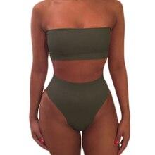 Almostlover1209 Swimwear Women High Waist Bikini Swimsuit Solid Bikini Set Maillot De Bain Femme 2017 Hot Bathing Suit Olive Top