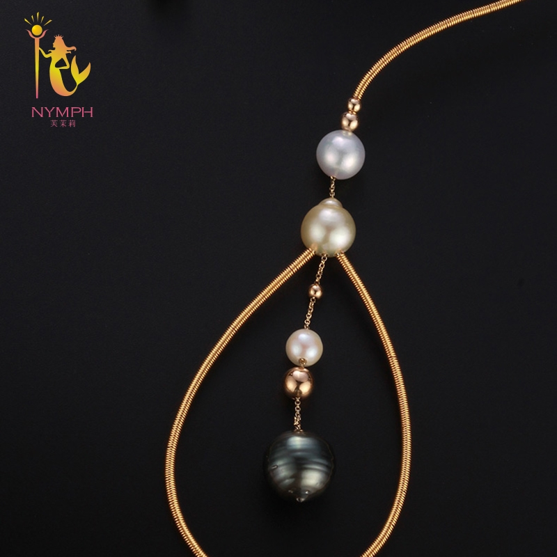 [NYMPH] Natural Baroque Pearl Torques Necklace Fine Jewelry Real Pearl Necklace Women Wedding Trendy Party Jewelry X344 2 3mm red natural agate necklace multi layers 925 sterling silver with real pearl fine womne jewelry wedding party necklace