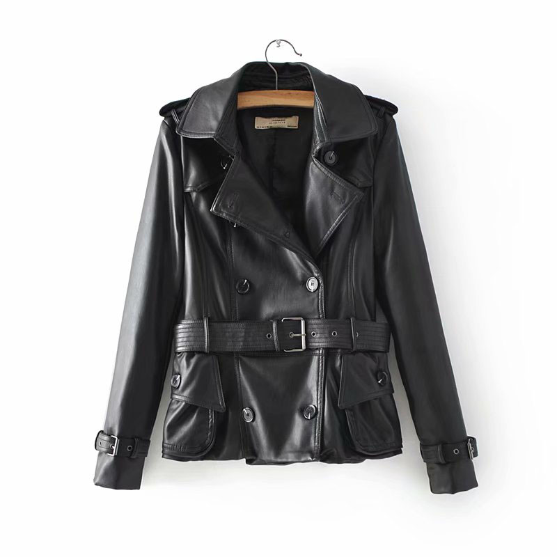 2019 Spring-Autumn 3 Colors Women Chic Double Breasted Motorcycle   Leather   Jacket With Adjustable Belt Female Pockets PU Jackets
