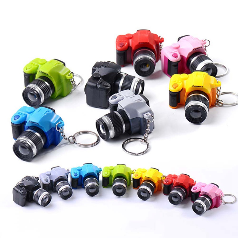 Camera Car Key Chains Kids Digital Camera Toy LED Luminous Sound Glowing Pendant Keychain Bag Accessories Plastic Toy