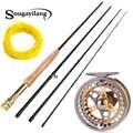 Sougayilang, 2,7 м, удочка для ловли нахлыстом, комбинированный светильник, вес, переносная, зеленый, черный, удочка для нахлыстом и комплект летуче...