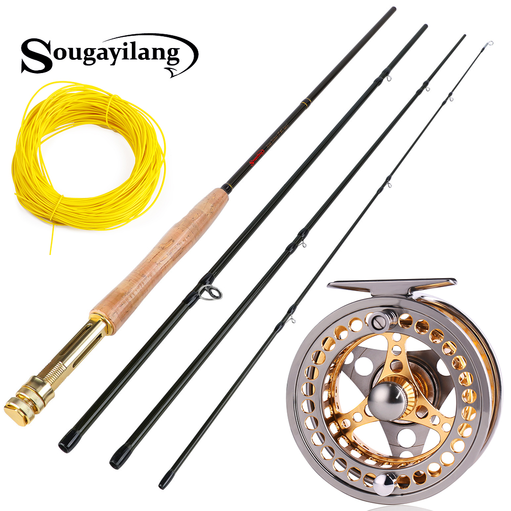 Sougayilang 2.7m Fly Fishing Rod Combo Light Weight Portable Green Black Fly Rod And CNC-machined Aluminum Alloy Fly Reel Kit