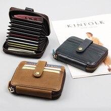 Card Holder Wallet Genuine Leather Unisex Bank Package Coin Bag Business RFID Women cardholder R-8446