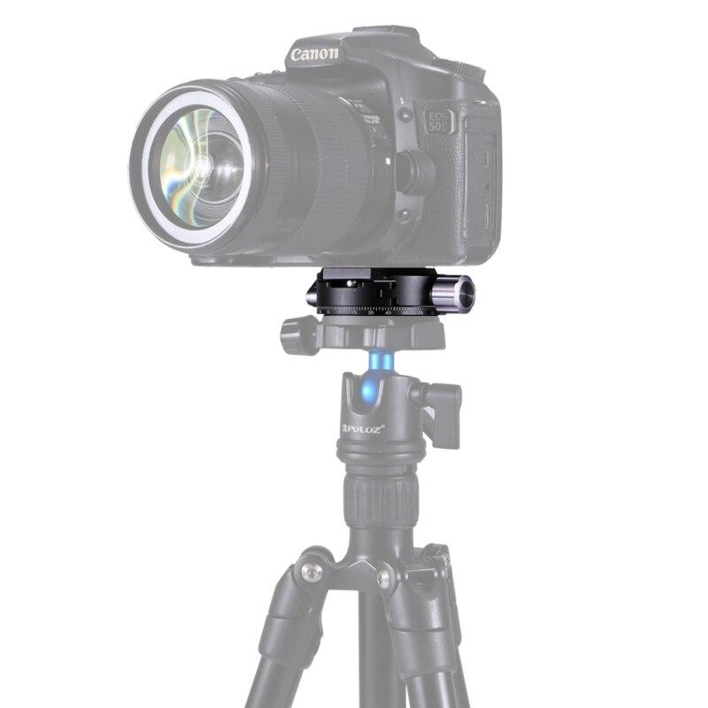 PULUZ professionnel DLSR caméra trépied tête en alliage d'aluminium 3/8 ''vis 360 degrés Rotation Panorama rotule trépied adaptateur