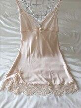 Fiklyc brand mini sleepwear for women lace satin silk nightwear temptation nightgowns with straps V-neck sleepshirts night suits