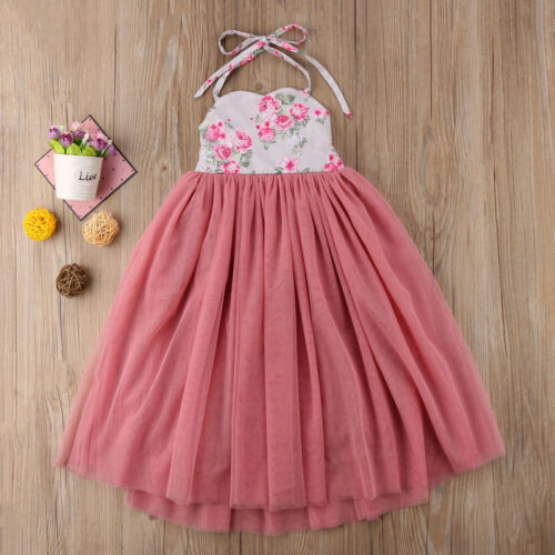 USA Long Princess Girls Dress Flower Solid Baby Lace Party Gown Formal Dresses in Dresses from Mother Kids