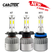 2PCS LED Car Headlight Bulbs Car LED Lights H4 H7 H11 72W 12000LM 3 Diodes COB