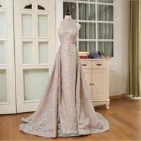 Elegant Evening Dresses A Line Champagne Robe De Soiree Custom Made Evening Dress Vestido De Festa Longo Abiye Lace Formal Gowns