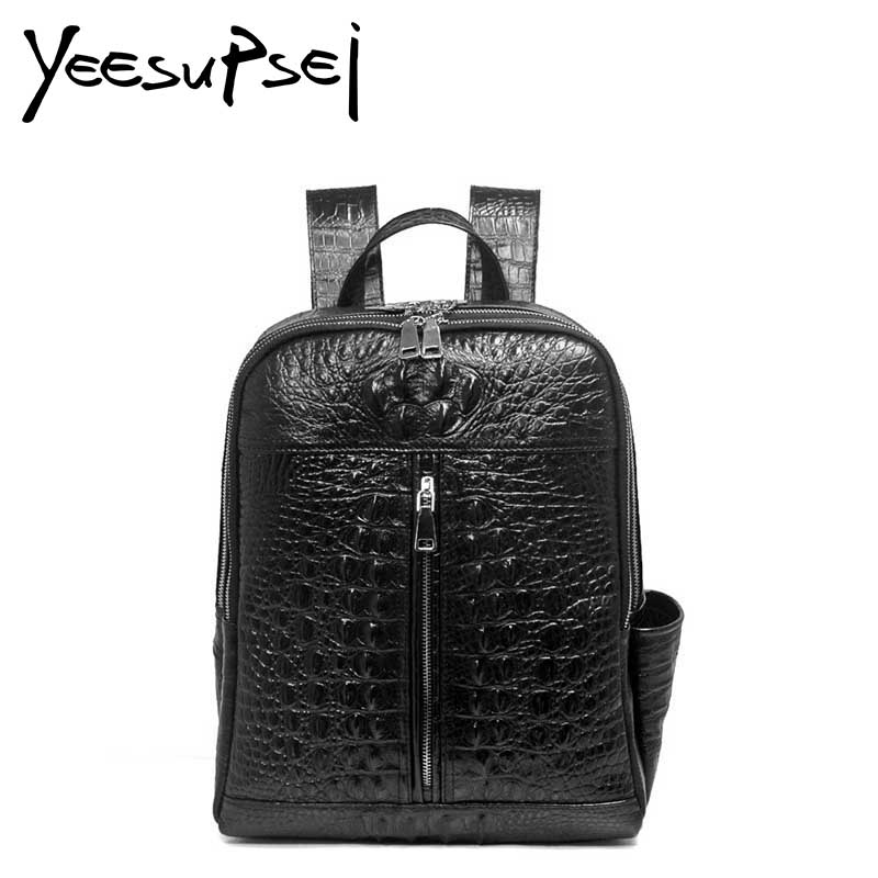 YeeSupSei Luxury Alligator Backpack Women Crocodile Grain Leather School Bag Zipper Backpack Lady Women Bag Package Female Bag 2018 yuanyu 2016 new women crocodile bag women clutches leather bag female crocodile grain long hand bag