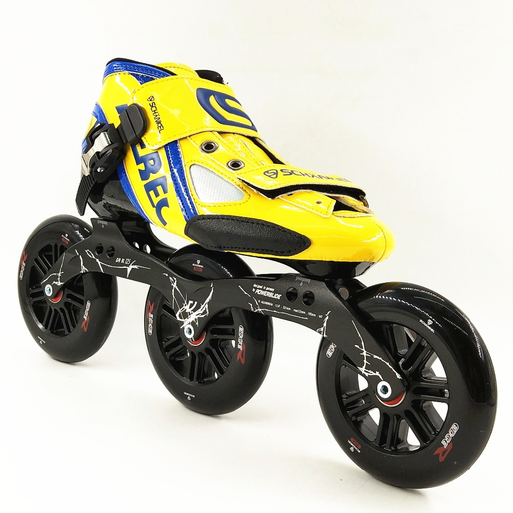 Skate shoes price - Yellow Blue Color Inline Speed Skating Shoes Inline Roller Skates Speed Skating 3 Wheels 3