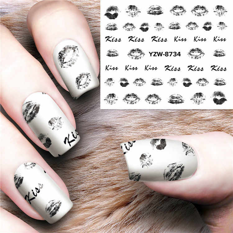 1pcs Mixed Design New Nail Art Sticker Feather Graffiti Lip Print Flower Water Decal Slider Wraps Decor Manicure Y8732