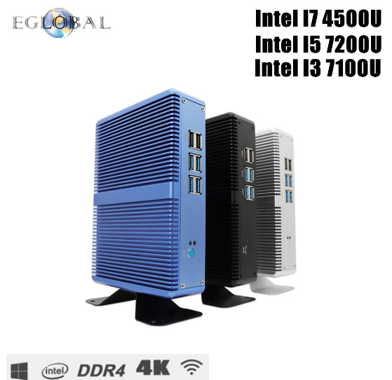 Eglobal Intel Core i7 i5 7200U i3 7100U Fanless Mini PC Windows 10 Pro Barebone Computer