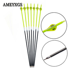 6/12pcs Spine 500 Yellow Carbon Arrow Outdoor Hunting Compound Bow Recurve Bow Shooting Archery Composite Arrow Shaft 12pcs 30inch high quality yellow rod carbon arrow yellow black feather composite recurve hunting shot yellow rod carbon arrow