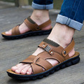 Camel male sandals slippers pu leather cowhide male sandals outdoor casual dual-use leather sandals