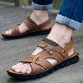 Camel sandalias masculinas zapatillas de cuero de la pu piel de vaca sandalias masculinas al aire libre de doble uso sandalias de cuero ocasionales