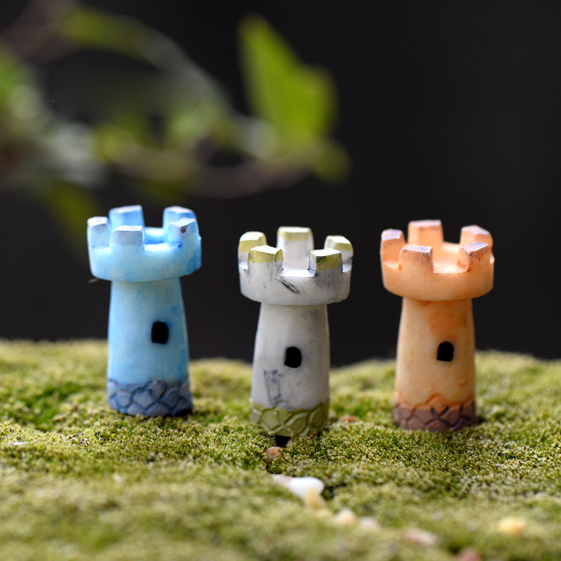 1Pcs Beacon Towers DIY Resin Fairy Garden Craft Decoration Miniature Micro Gnome Terrarium Gift F0458