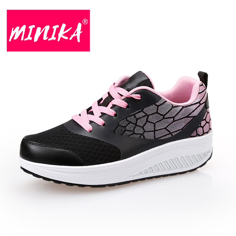 MINIKA Fashion Platform Sneakers Women New Arrival 2017 Casual Women Flat Shoes Comfortable Lace-Up Shoes Women High Quality minika breathable mesh lace shoes women thick bottom shallow mouth women casual shoes slip on flat shoes women high quality