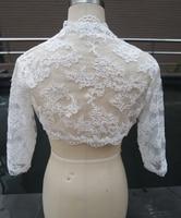 Drei Viertel Sleeve Spitze Hochzeit Jacke Weiß Braut Mantel Elfenbein Hochzeit Wraps Bolero