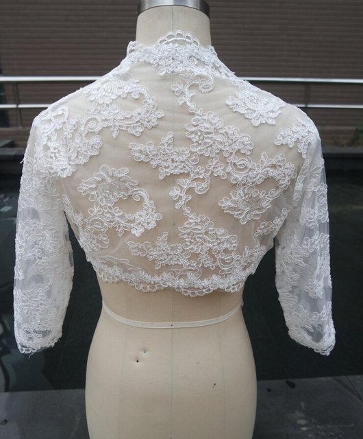 Three Quarters Sleeve Lace Wedding Jacket White Bridal Coat Ivory Wedding Wraps Bolero