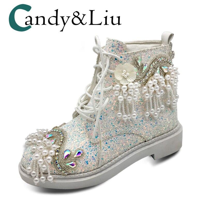 Bottes courtes pour femmes rose blanc paillettes paillettes bottines toile tissu vent chaussures éblouissantes perle gland bout rond pour les filles