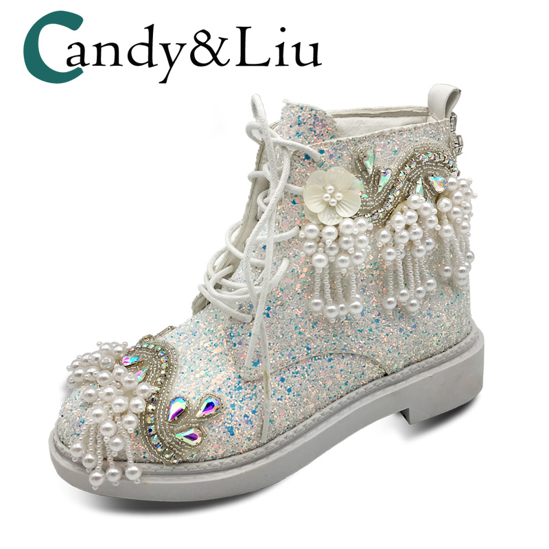 Women s Short Boots Pink White Glitter Sequins Ankle Boots Canvas Fabric  Wind Shoes Dazzling Pearl Tassel Round Toe for Girls 1381b14983