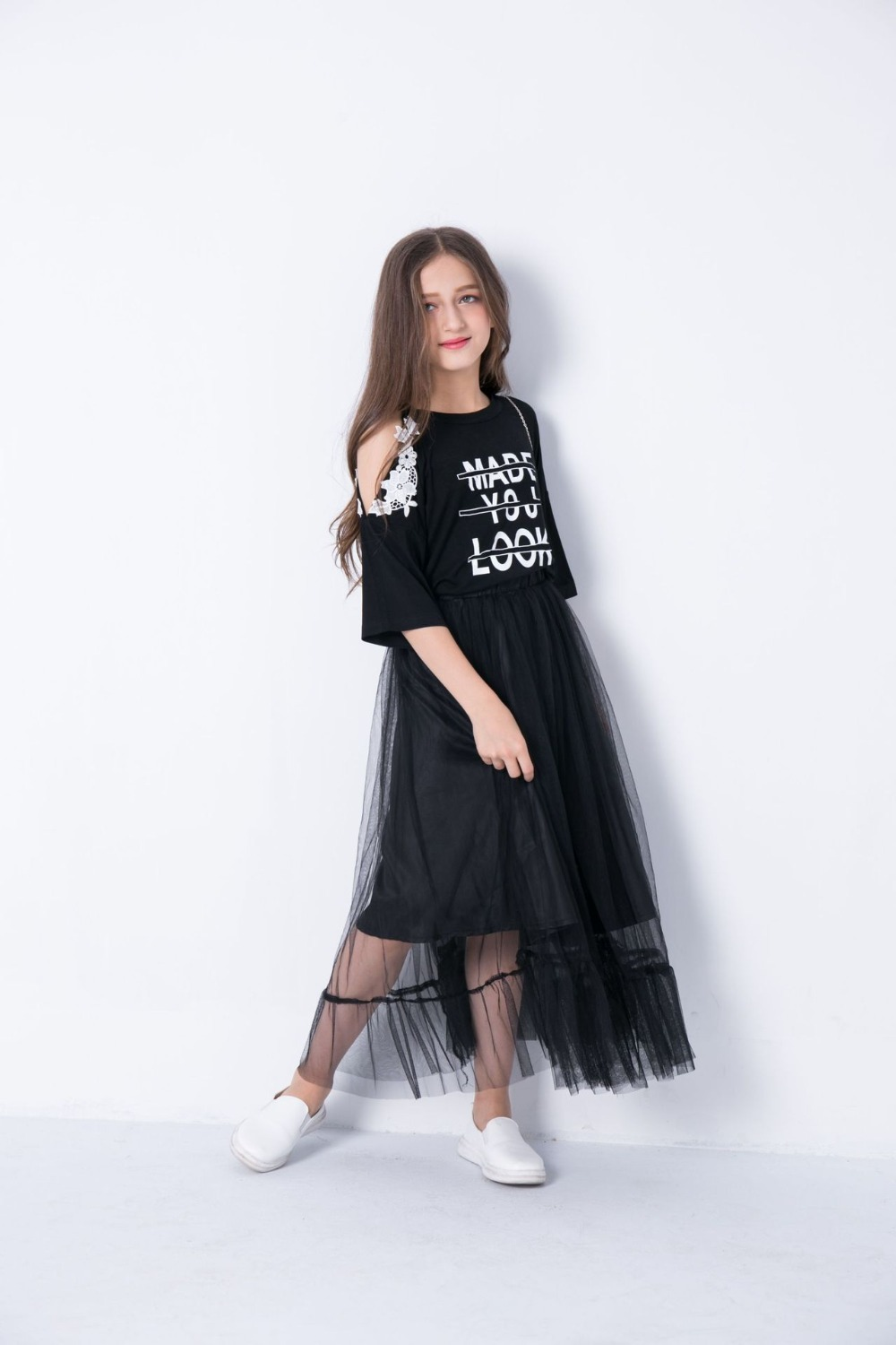 ed4c575d99caa Teen Girls Clothing Sets 10 11 12 14 years Girls Half Sleeve Summer Girls  Clothes 2pcs Off shoulder Tops Black Mesh Skirts -in Clothing Sets from ...