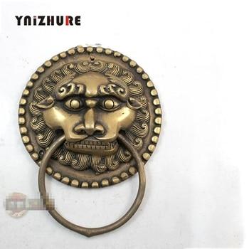 2pcs 110mm Chinese Antique Bronze Door Handle Copper Ring Shop First Beast Handle