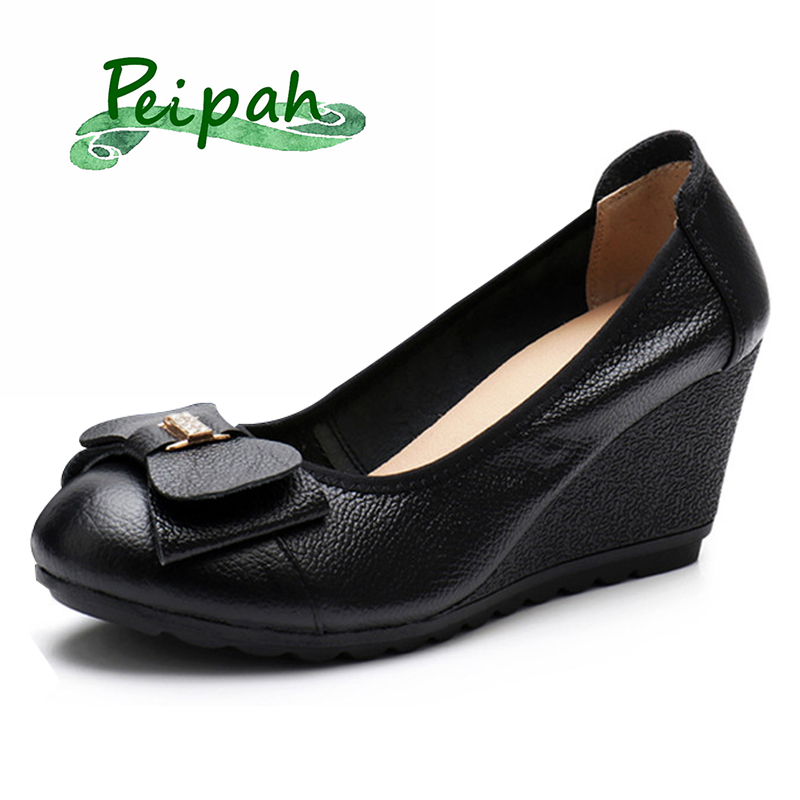 PEIPAH Women's Genuine Leather Flat Platform Shoes Spring Spring/Autumn Wedges Shoes Woman Solid Shoes High Heels Zapatos Mujer