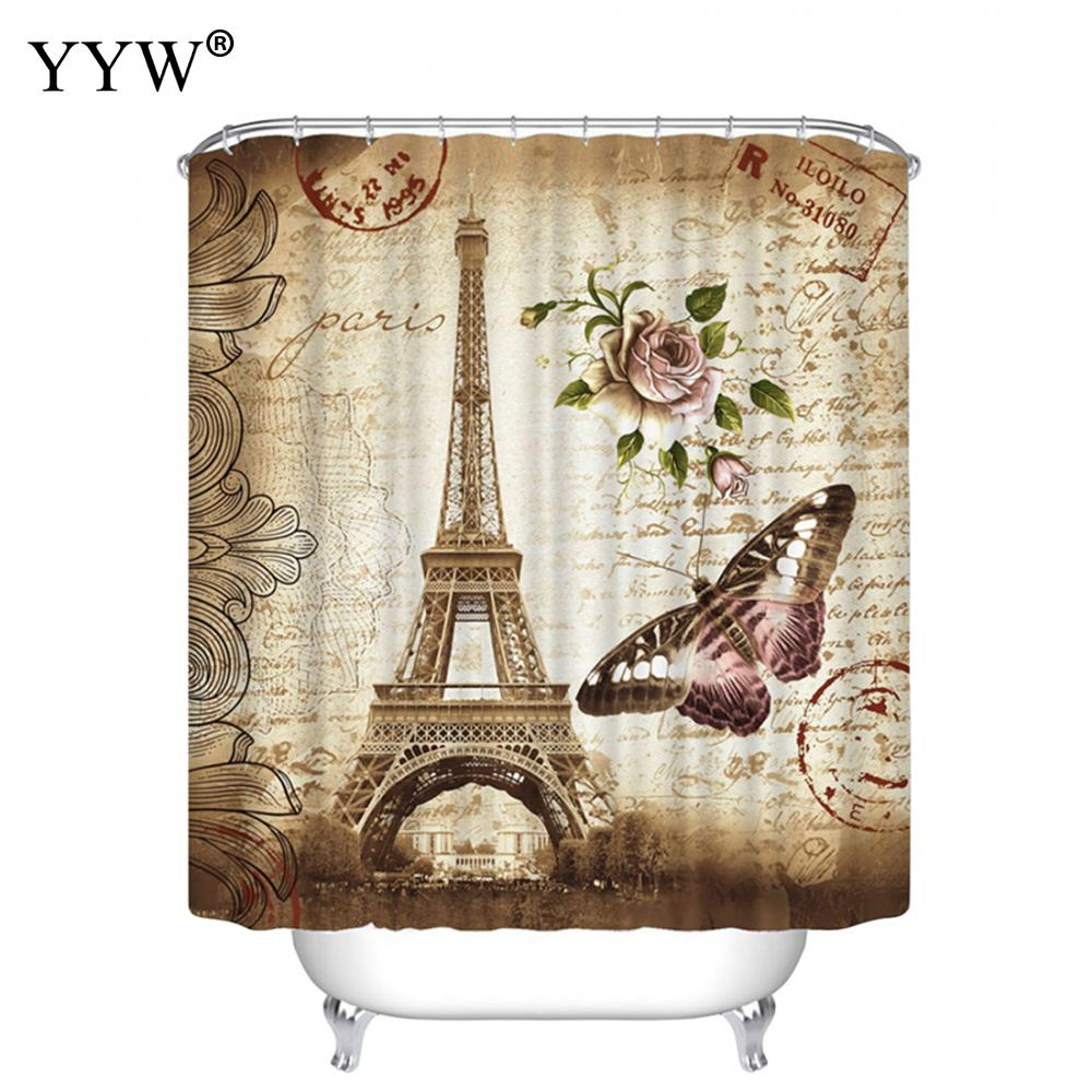 1pcs New Curtain Colorful Bath Screens Shower Curtains Home Eco Friendly Peva Retro Butterfly High Quality Washable Bath Decor in Shower Curtains from Home Garden
