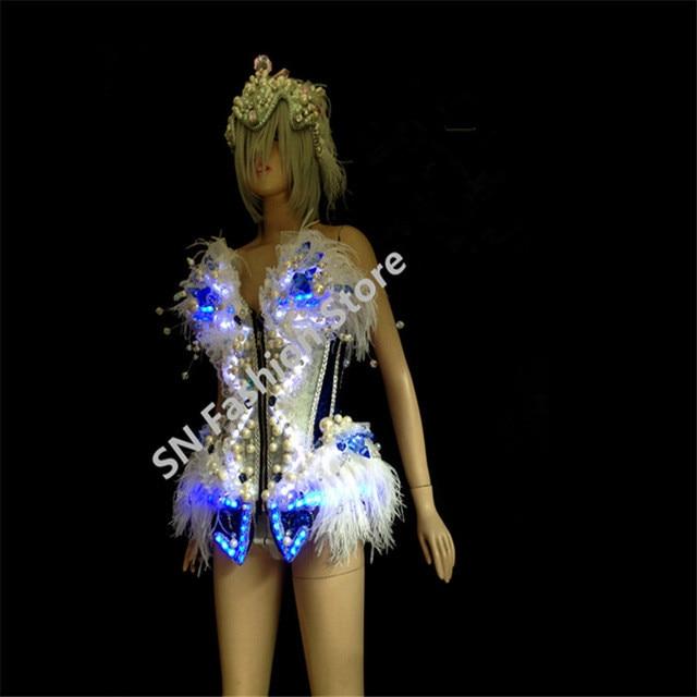 WX07Cosplay 화려한 LED 조명 빛나는 춤 볼룸 의상 음악 의류 바 파티 디스코 DJ 전자 무대 쇼 착용