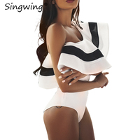 Singwing Large Ruffle Black And White Jumpsuit Romper Off The Shoulder Sexy Female Rompers Lady Clothes