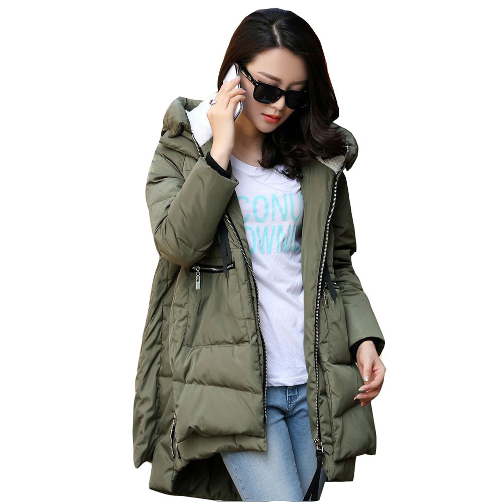 4ba1f03ffdd Winter fashion new down jacket cotton warm solid color pocket women s long loose  large size cotton