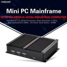 Intel Core I3 4010U безвентиляторный Mini PC Windows 10 Настольный Компьютер Промышленного Неттоп HTPC barebone системы 2COM HD4400 Графика Wi-Fi