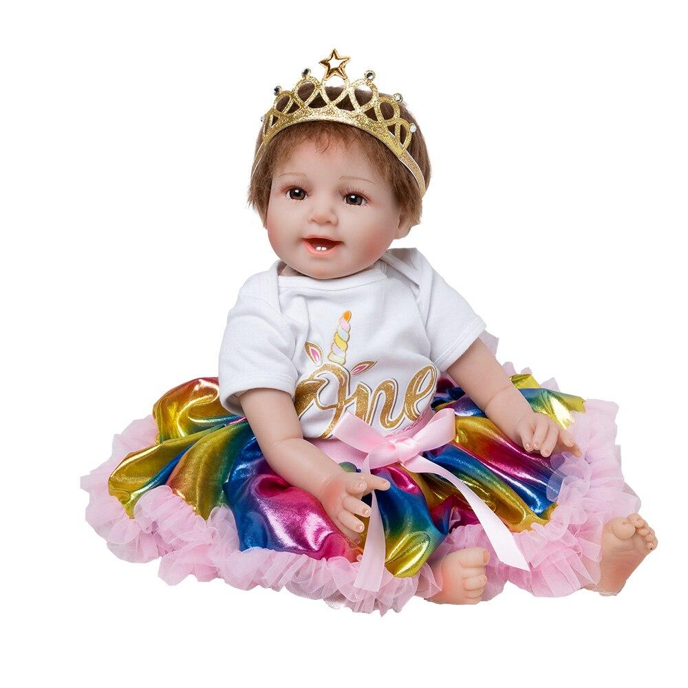 Arc-en-Bébé Poupée Jouet Fille 22 pouces Reborn Vinyle Filles Poupées Enfants Haute Talon Costume Doux Silicone 55 cm boneca nouveau-né
