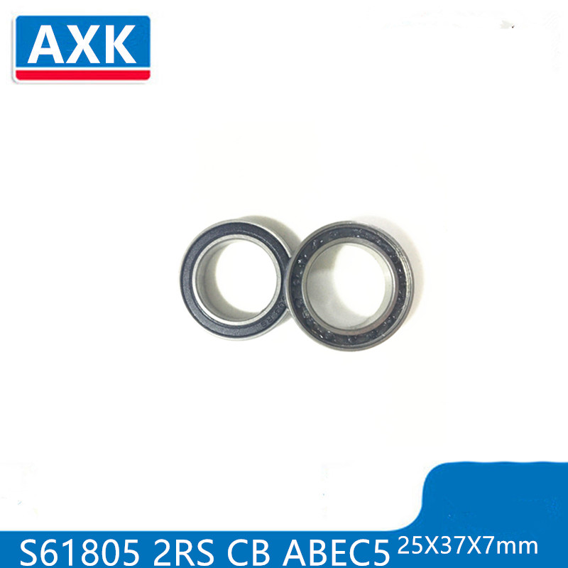 s6805 2rs 6805 rs 2PCS S61805 2RS CB ABEC5 25X37X7mm Stainless Steel Hybrid Ceramic Bearings