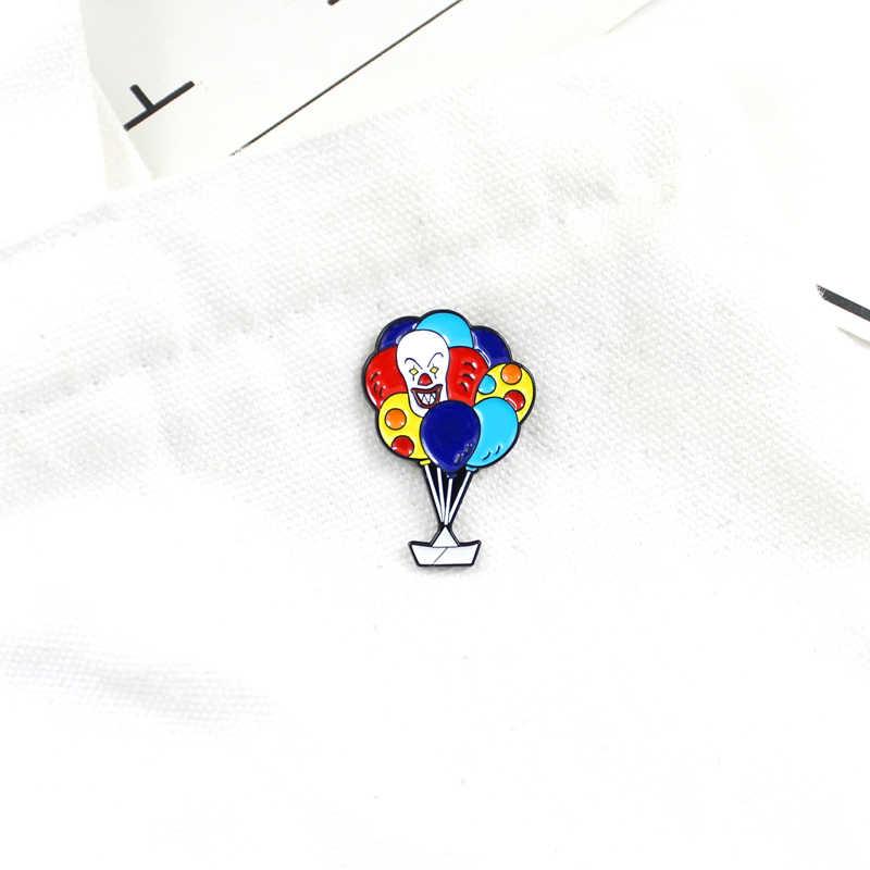 الكرتون الملونة منطاد الهواء الساخن دبابيس الأبيض محظوظ السفينة المينا السيرك المهرج بالون ظهره حقيبة دبوس بروش مجوهرات