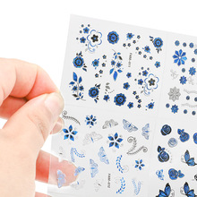 30Sheets/Lot Nail Sticker 6.3*5cm Blue&silver Butterfly Pattern 3D Art Decal For Decoration Manicure