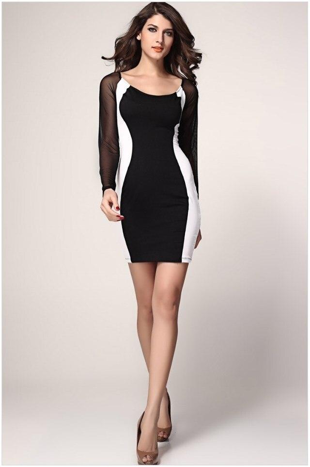 Women dresses Autumn 2015 Hot vestidos curtos Fashion Black White ... cce12feba7fc