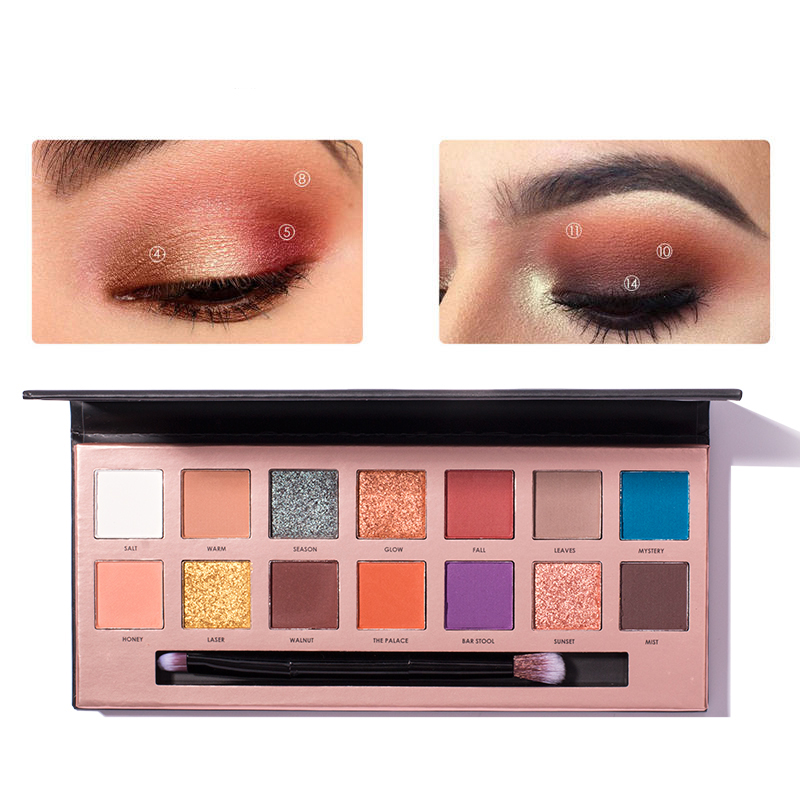 1PCS Palette Eyeshadow with makeup brushes Highlighter Glitter and Matte Smoky Eyeshadow Palette 14 Shades with mirror in Eye Shadow from Beauty Health