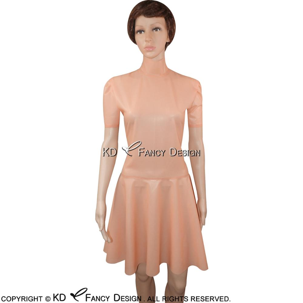 Baby Pink Sexy Latex Dress With Half Sleeves High Collar Zipper Back Rubber Dress Bodycon Playsuit LYQ-0067