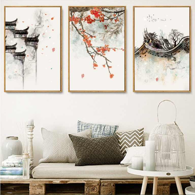 New Chinese Ink Flowers Print Picture Decorative Painting Modular Picture Wall Art Canvas Painting for Living Room No Framed