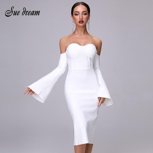 2020 חדש סתיו נשים תחבושת שמלה אלגנטי לבן שחור שמלה סקסי אבוקה שרוול Midi סלבריטאים מסיבת חג המולד שמלת Vestidos