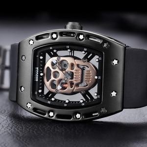 Image 2 - Baogela Fashion Mens Skeleton Skull Luminous Quartz Watches Military Style Black Silicone Rectangle Dial Wristwatch for Man1612