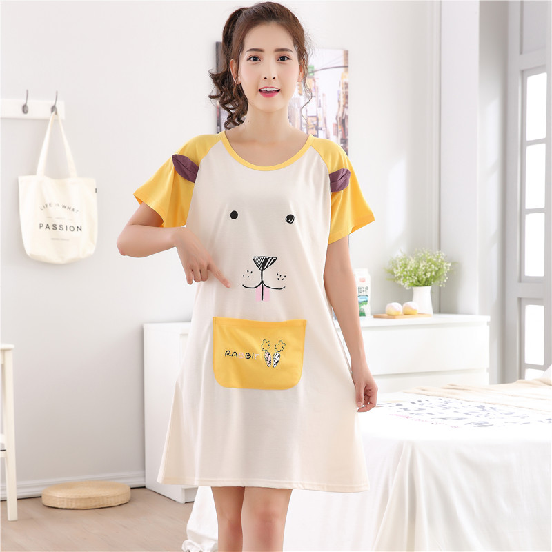 2017 New Summer Cotton   Nightgown   Women Sweet Girl Lounge Nightdress Cartoon Sleepwear Short Sleeve   Sleepshirts   3XL Home Clothing