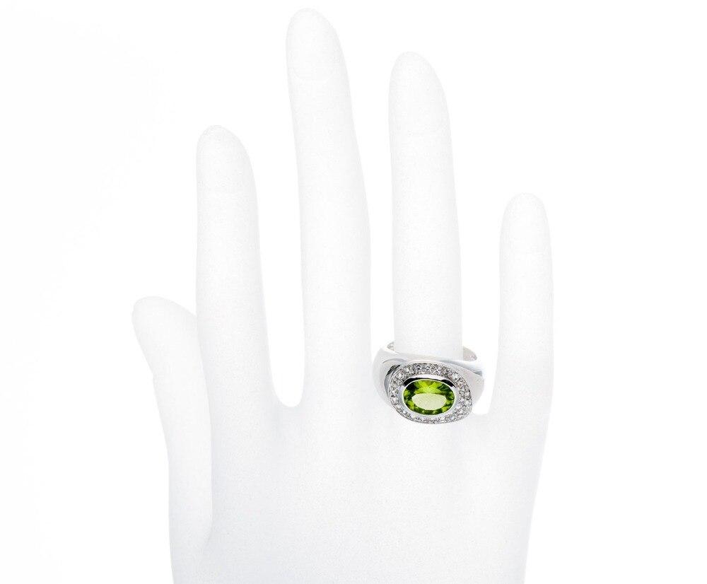 Hutang 3.59Ct naturel vert péridot bagues en topaze solide 925 bague en argent Sterling pour les femmes Fine élégante bijoux cadeau en gros - 4