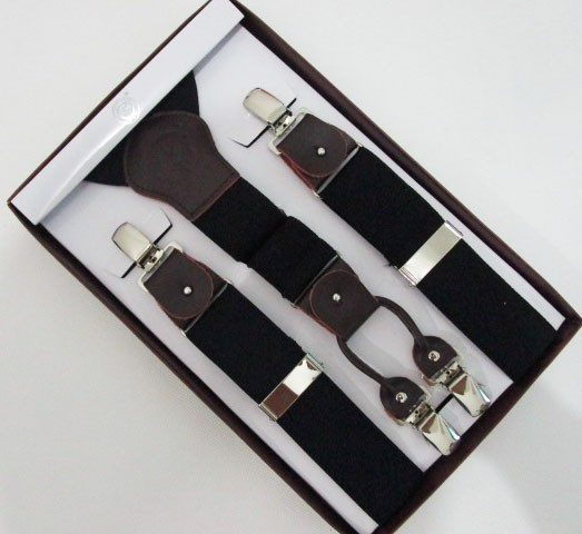 Free Shipping 2015 Hot Sale 3.5 cm Width Adjustable Four Clip-on Man Black Real Leather Braces Suspenders For Taller Gift 115cm
