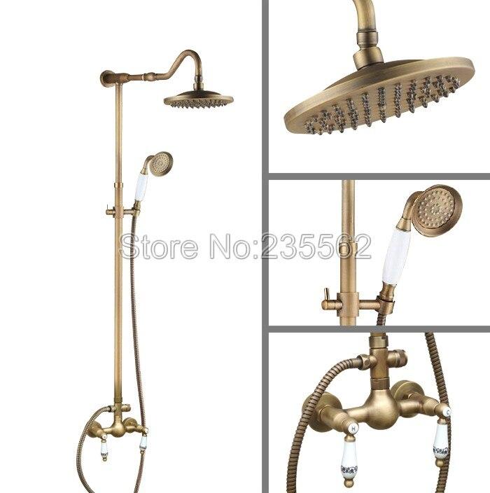 Antique Brass Bathroom Wall Mounted Rain Shower Faucet Set 8 Inch Shower Head +Hand Spray lan508