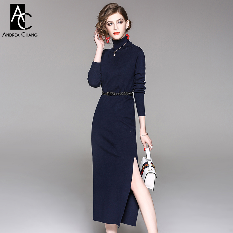 autumn winter woman dress turtleneck dark blue knitted dress side split bottom full sleeve casual elastic long calf length dress pocket open shoulder split full length dress
