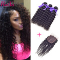 Malaysian Curly Hair With Closure 3 Bundles Malaysian Deep Wave Curly Malaysian Virgin Hair With Closure Curly Weave Human Hair